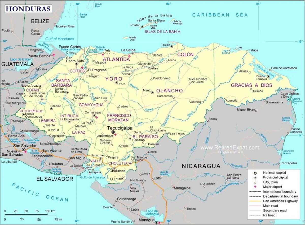 Mapa Polityczna Honduras Mapy Mapa Polityczna Honduras Ameryka